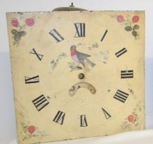 Antique Grandfather 30 Hour T & S Movement and Dial: The dial has a bird and strawberries painted on it plus a smaller dial. The movement is unsigned. Has not been tested. Sells as is, where is. 12