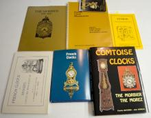 7 Reference Books on French Clocks, Morbier, Atmos and Others. Includes 2 hardbound, 4 softbound and 1 spiral bound. Please see the photos for titles. All are in good condition. All sell as is, where is.