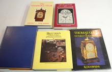 6 Reference Books on English Clockmakers and Clocks: All hardbound with one without a dust cover. Please see the photos for titles. All are in good condition. All sell as is, where is.