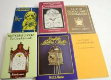 6 Reference Books on English Clockmakers and Clocks: 5 are  hardbound and one is softbound. Please see the photos for titles. All are in good condition. All sell as is, where is.
