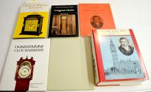 6 Reference Books on English Clockmakers and Clocks: 5 are hardbound with one softbound and one without a dust cover. Please see the photos for titles. All are in good condition. All sell as is, where is.