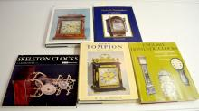 5 Hardbound Reference Books on English Clockmakers and Clocks. Please see the photos for titles. All are in good condition. All sell as is, where is.