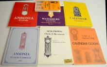 6 Reference Books and A Price Guide on American Clock Companies and Clocks: 1 is hardbound; 6 are softbound. Please see the photos for titles. All are in good condition. All sell as is, where is.