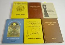 6 Reference Books on American Clockmakers and Clocks: 5 are hardbound; 1 is softbound. Please see the photos for titles. All are in good condition. All sell as is, where is.