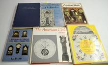 6 Hardbound Reference Books on American Clockmakers and Clocks: One has no dust cover and several other dust covers are torn. Please see the photos for titles. All are in good condition. All sell as is, where is.