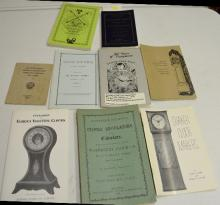 8 Softbound Reference Books and Pamphlets on American Clock Companies and Clocks. Please see the photos for titles. All are in good condition. All sell as is, where is.
