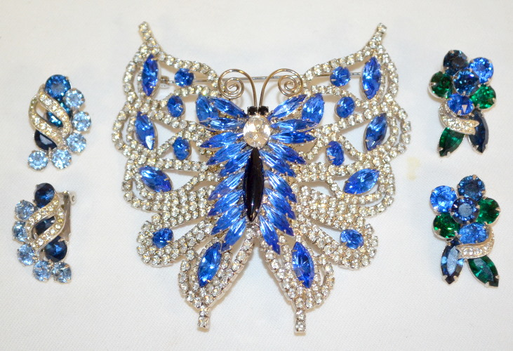 3 Vintage Costume Jewelry Brooch And Earrings Signed Eisenb