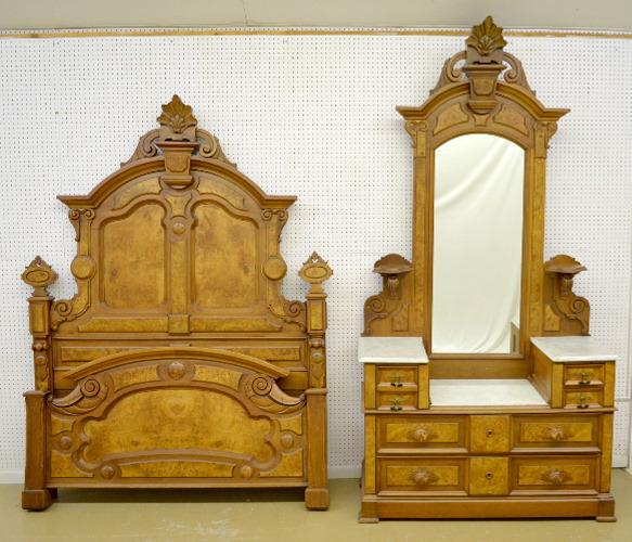 Burled Walnut Victorian 2 Piece Marble Top Bedroom Set: W/ma