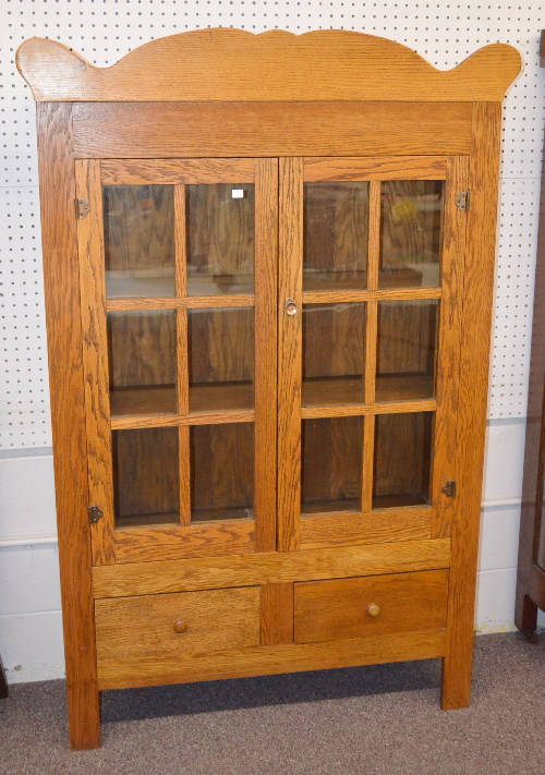 antique flat front oak china cabinet mission oak style with