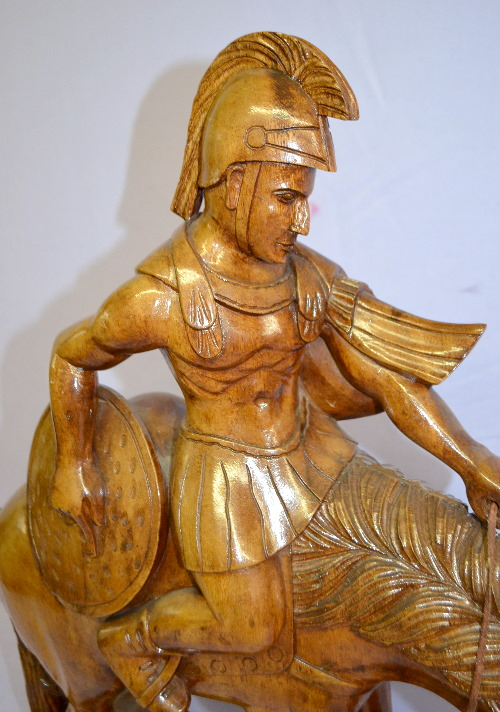 Wood carved statue of a roman soldier on horse not antiqu