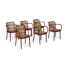 Attributed to Josef Hoffmann (1870-1956) & Josef Frank (1885-1967) for Thonet, distributed by Stendig Prague armchairs, set of six 2...