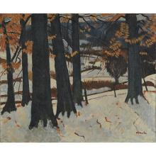 """Lawrence McConaha, (American, 1894-1962), Winter Landscape, oil on canvas, 25"""" x 30"""""""