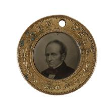 """John Bell and Edward Everett 1860 back-to-back ferrotype campaign badge 7/8""""dia"""
