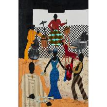 """Allen Stringfellow, (American, 1923-2004), Jamming with the Queen of the Blues, 2002, collage, 23.5"""" x 17.5"""""""