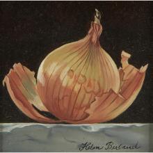"""Helen Berland, (American, 1915-1986), Onion, oil on board, 3 1/2"""" x 3 1/2"""""""