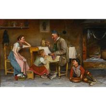 """Fausto Giusto, (Italian, 1867-1941), Grandpa's Snuff, oil on canvas, 21 3/4"""" x 33 5/8"""""""
