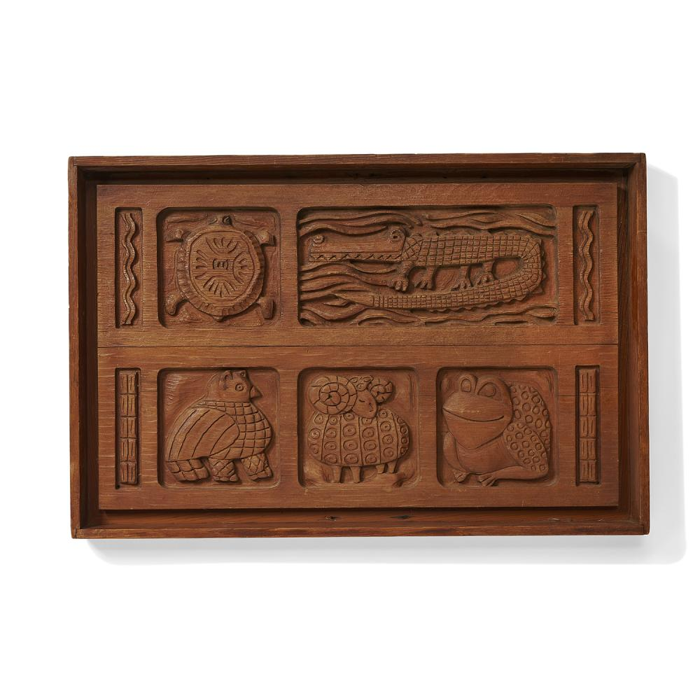 """Evelyn Ackerman (1924-2012) for Panelcarve wall panel 39 1/2""""w x 3 1/4""""d x 26""""h"""