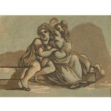 John Skippe, (English, 1741-1811), Young Lovers, together with etching by Stephano Della Bella (Italian, 1610-1664), Ornamental Frie...