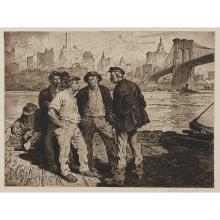 "Martin Lewis, (Australian/American, 1881-1962), Dock Workers Under the Brooklyn Bridge, 1916, etching and aquatint, 17 1/2"" x 23 3/4..."