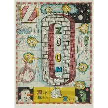 "Tony Fitzpatrick, (American, b. 1958), ""Z"", 2000, color etching, 8"" x 6"""