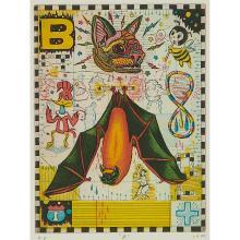 "Tony Fitzpatrick, (American, b. 1958), ""B"", 1999, color etching, 8"" x 6"""