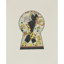 """Tony Fitzpatrick, (American, b. 1958), Baby Doll (Keyhole Cutie), 1998, color etching, 9 1/2"""" x 7"""""""