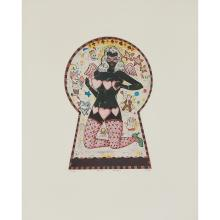 """Tony Fitzpatrick, (American, b. 1958), Pink Angel (Keyhole Cutie), 1998, color etching, 9 1/2"""" x 7"""""""
