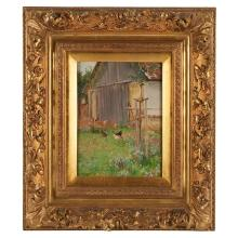 "Josef Jungwirth, (Austrian, 1869-1950), Farm yard scene, oil on board, 9"" x 7"""