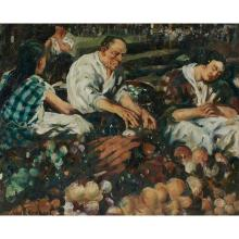 "John Grabach, (American, 1886-1981), Family Market, oil on canvas, 30"" x 36"""
