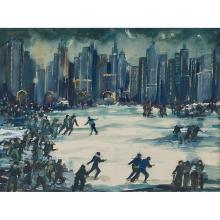 "John Grabach, (American, 1886-1981), New York City Snow Scene, watercolor and gouache, 19 1/2"" x 26"""