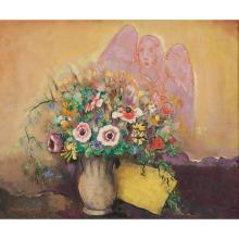 "Manuel Komroff, (American, 1890-1974), Springtime, Flowers and Archangel Gabriel, oil on canvas board, 20"" x 24"""
