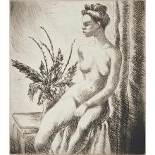 """Charles Okerbloom, (American, 1908-1999), Nude, etching, 7.75"""" x 7"""""""