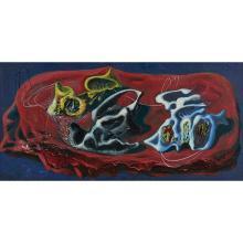"""Ezio Martinelli, (American, 1895-1987), Untitled, oil on board, 20"""" x 40"""""""