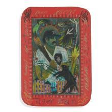 "Tony Fitzpatrick, (American, b. 1958), Tiger Man, circa 1985, with hawk sketch verso, colored pencil on slate, 6 1/2"" x 4 1/2"""