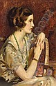 """J. Young Hunter (American, 1874-1955) """"Portrait of a Lady"""", oil/board, 32.5"""" x 21"""", signed. Studied"""