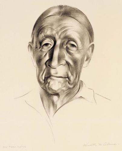 """Kenneth Miller Adams (American, 1897-1966), """"Old Taos Indian"""", c.1940; lithograph, 15.5"""" x 12.5"""","""