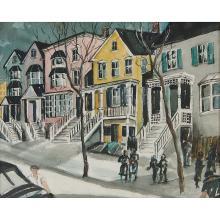 "John Grabach, (American, 1886-1981), Snow Scene in the Neighborhood, watercolor on paper, 19"" x 23 1/2"""