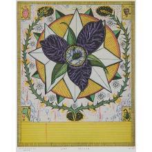 "Tony Fitzpatrick, (American, b. 1958), Star Trillium, 1997, color etching, 9 3/4"" x 7 3/4"""
