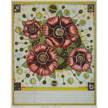 """Tony Fitzpatrick, (American, b. 1958), Passage Flower, 1997, color etching, 9 1/2"""" x 7"""""""