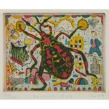 Tony Fitzpatrick, (American, b. 1958), Bug Circus, 2000 (ten works): Dancing Bug, Green Bug, Catepillar [sic], Cicada, Jewell Bug [s...