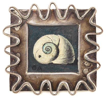 """Gertrude Abercrombie (American, 1909-1977), """"Shell"""", c.1952; silver brooch with oil painting, total"""