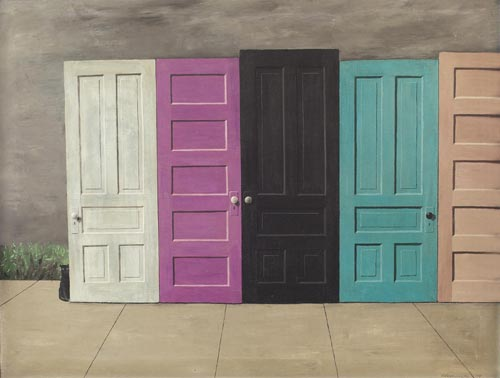 "Gertrude Abercrombie (American, 1909-1977), ""Demolition Doors"", c.1959; oil/canvas, 26"" x 34"","