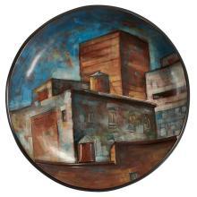 "Lidya Buzio, (Uruguayan/American, 1948-2014), City Scene (Bowl), glazed ceramic, 16""dia"