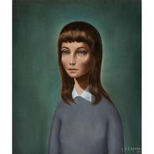 """Jean-Pierre Capron, (French, 1921-1997), Portrait of a Girl, 1964, oil on canvas, 21.25"""" x 17.75"""""""