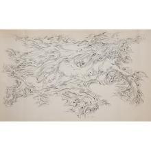 """Ezio Martinelli, (American/Italian, 1913-1980), Surrealist Composition, 1953, india ink on paper, 36"""" x 61.5"""""""