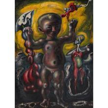 """Ezio Martinelli, (American/Italian, 1913-1980), Untitled, oil on masonite, 45.5"""" x 34.5"""""""