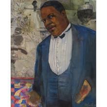 """Louis Delsarte, (American, b. 1944), Oscar Micheaux, 1990, watercolor, pastel and pencil on paper, 34"""" x 26.5"""""""