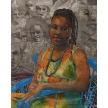 "Louis Delsarte, (American, b. 1944), Michelle Parkson, 1990, watercolor, pastel and pencil on paper, 34"" x 26.5"""
