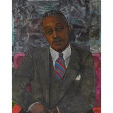 "Louis Delsarte, (American, b. 1944), Melvin Van Peebles, 1990, watercolor, pastel and pencil on paper, 34"" x 26.5"""