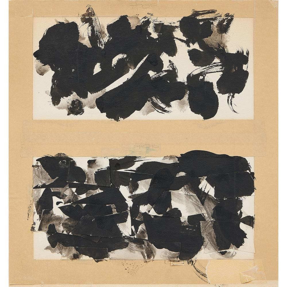 Fred Mitchell, (American, 1923-2013), Untitled Diptych, circa 1956 (pair of works), ink and collage on board, each (approximately):...